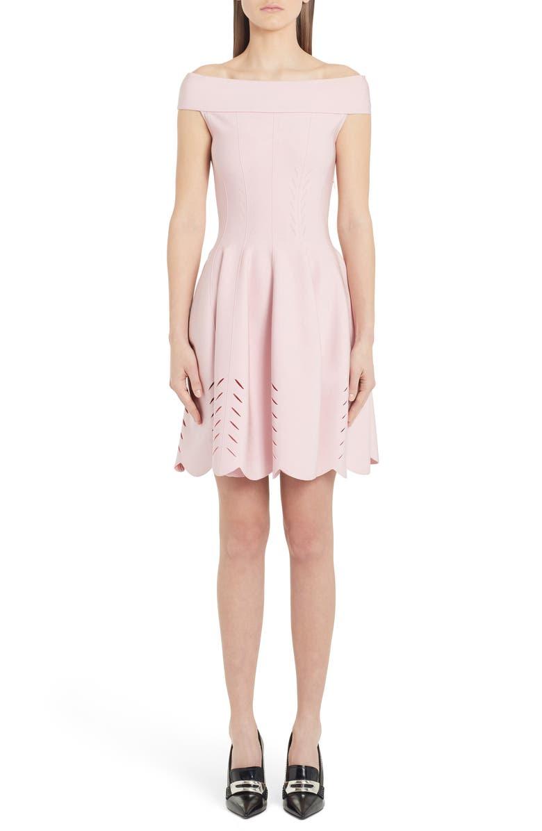 ALEXANDER MCQUEEN Cutout Scallop Off the Shoulder Sweater Dress, Main, color, BLUSH PINK