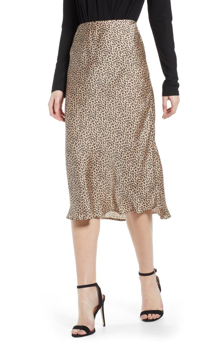 LEITH Satin Midi Skirt, Main, color, LEOPARD