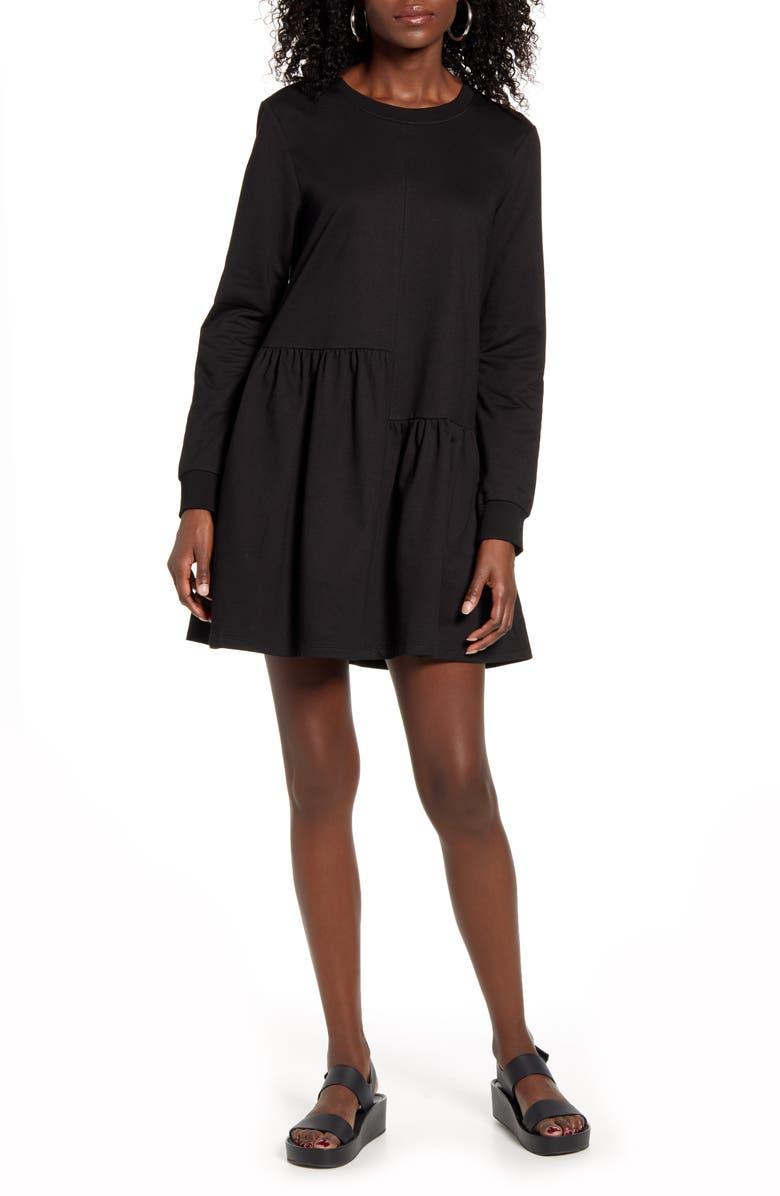 ENGLISH FACTORY Ruffle Hem Long Sleeve Knit Dress, Main, color, BLACK