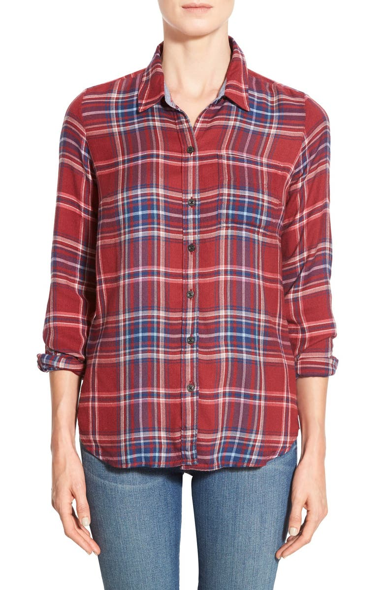LUCKY BRAND 'Bungalow' Plaid Lightweight Flannel Shirt, Main, color, 610