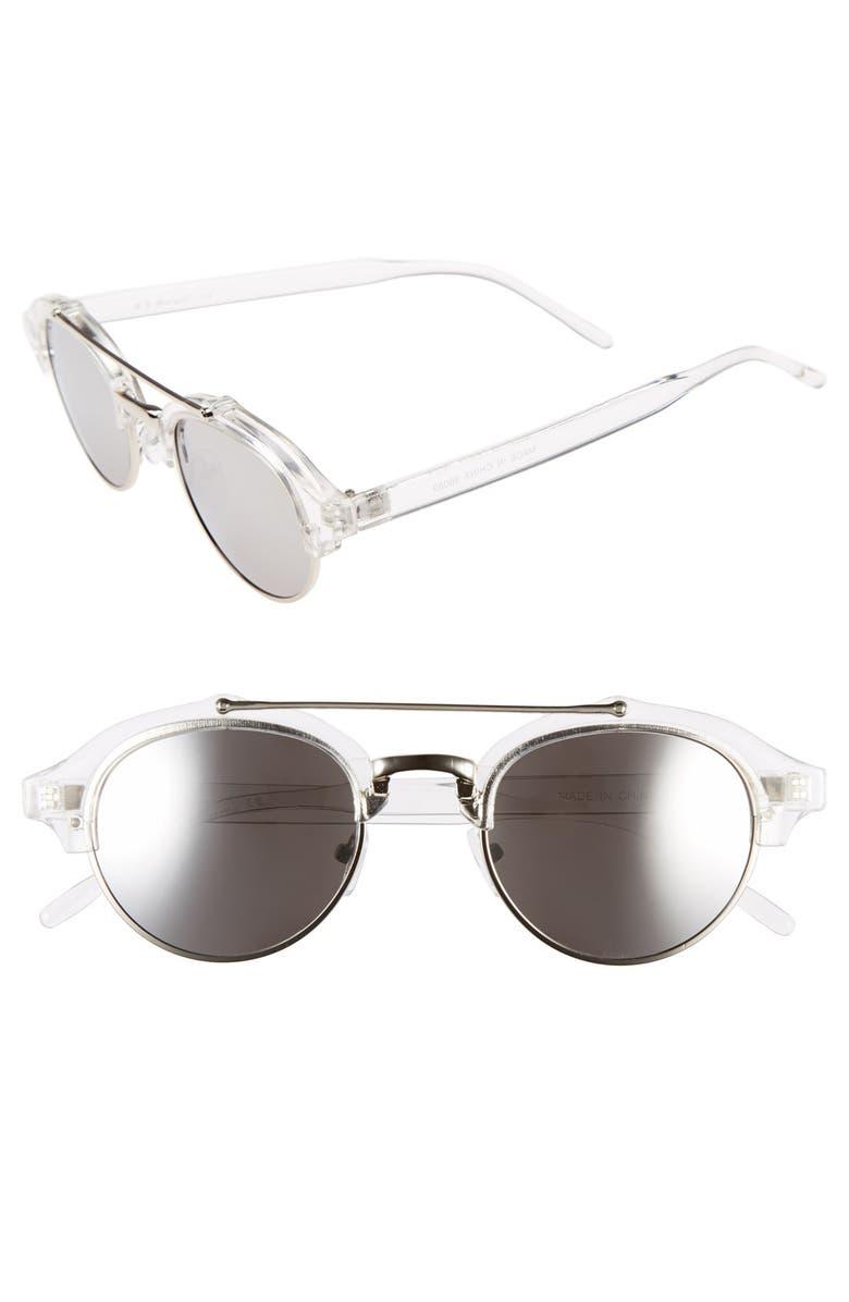A.J. MORGAN 'Raddick' 46mm Round Sunglasses, Main, color, 100