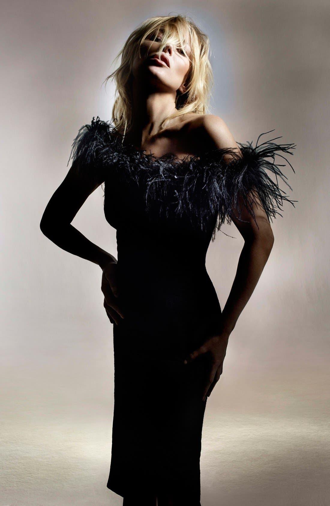 ,                             Kate Moss for Topshop Feather Off Shoulder Cocktail Dress,                             Alternate thumbnail 6, color,                             001