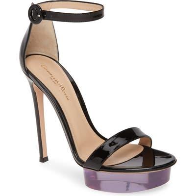 Gianvito Rossi Clear Platform Ankle Strap Sandal, Black