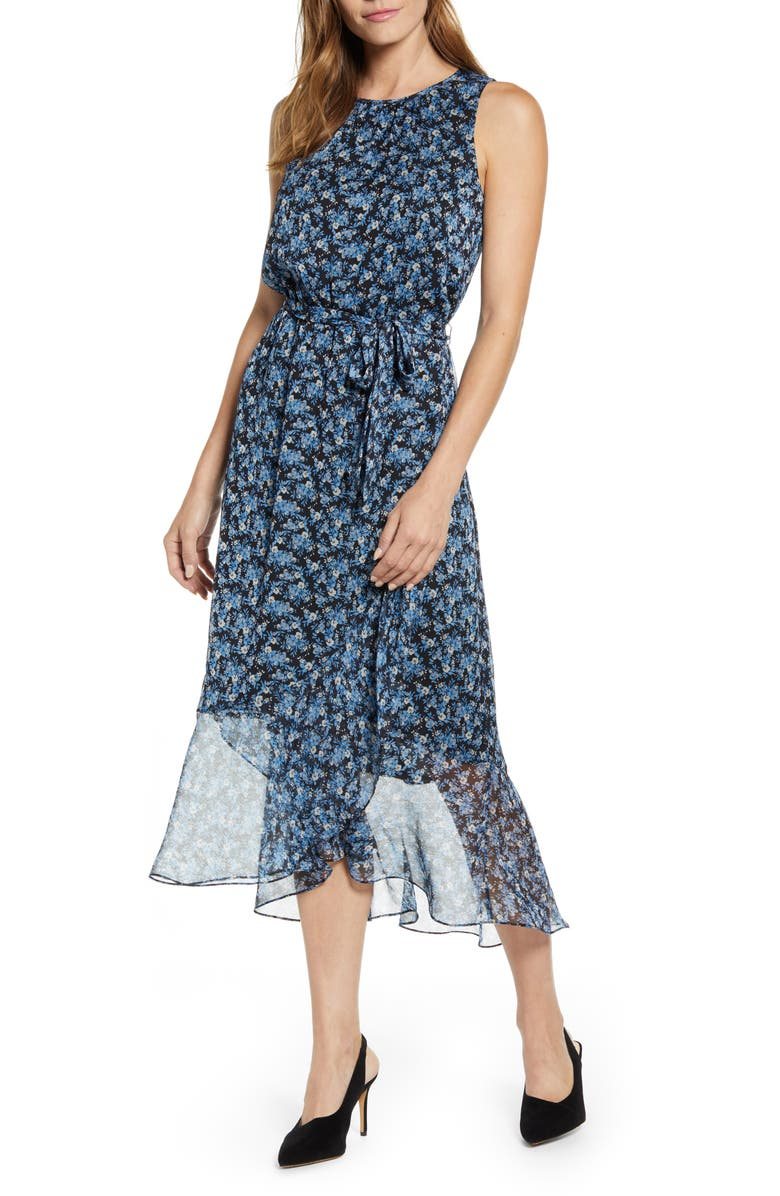 VINCE CAMUTO Floral Belted Chiffon Midi Dress, Main, color, SERENE LAKE