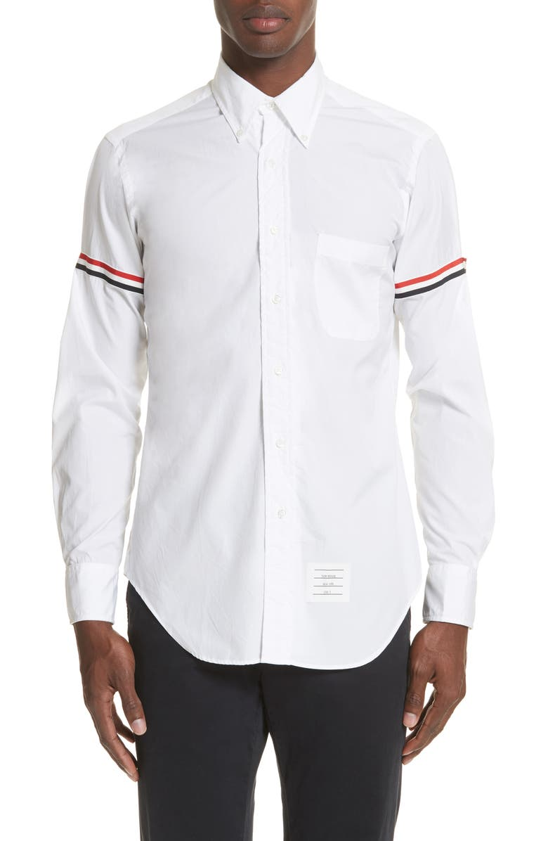 THOM BROWNE Woven Shirt, Main, color, OFF WHITE