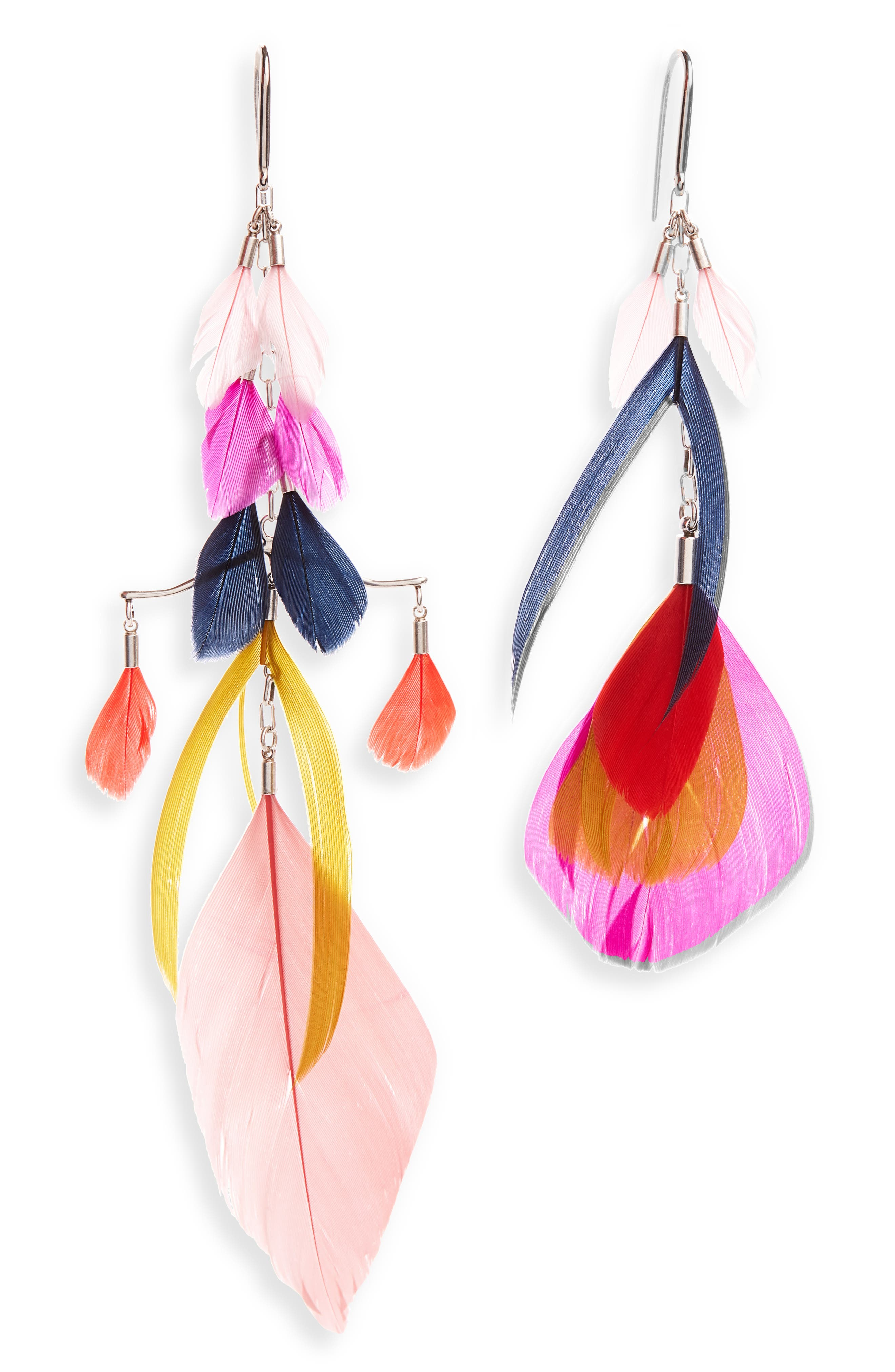 Full of vivacious color and floaty movement, these feathery shoulder dusters make a stunning accessory. Style Name: Isabel Marant Mismatched Feather Statement Earrings. Style Number: 6022993. Available in stores.