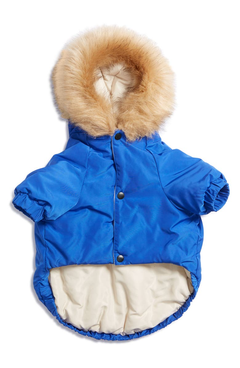 LOVETHYBEAST Colorblock Hooded Dog Parka, Main, color, BLUE/ KELLY GREEN