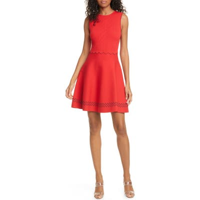 Ted Baker London Cloeei Scallop Detail Skater Dress, Red
