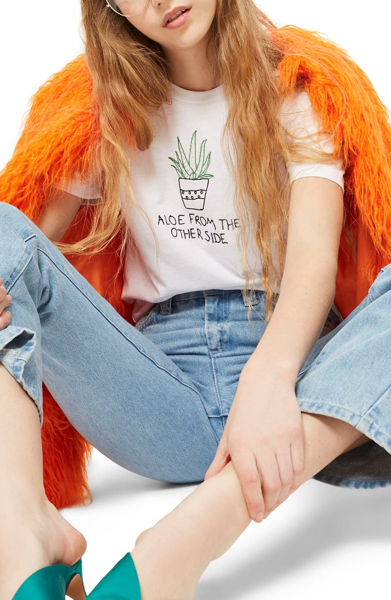 TOPSHOP Aloe Embroidered Tee, Main, color, 100
