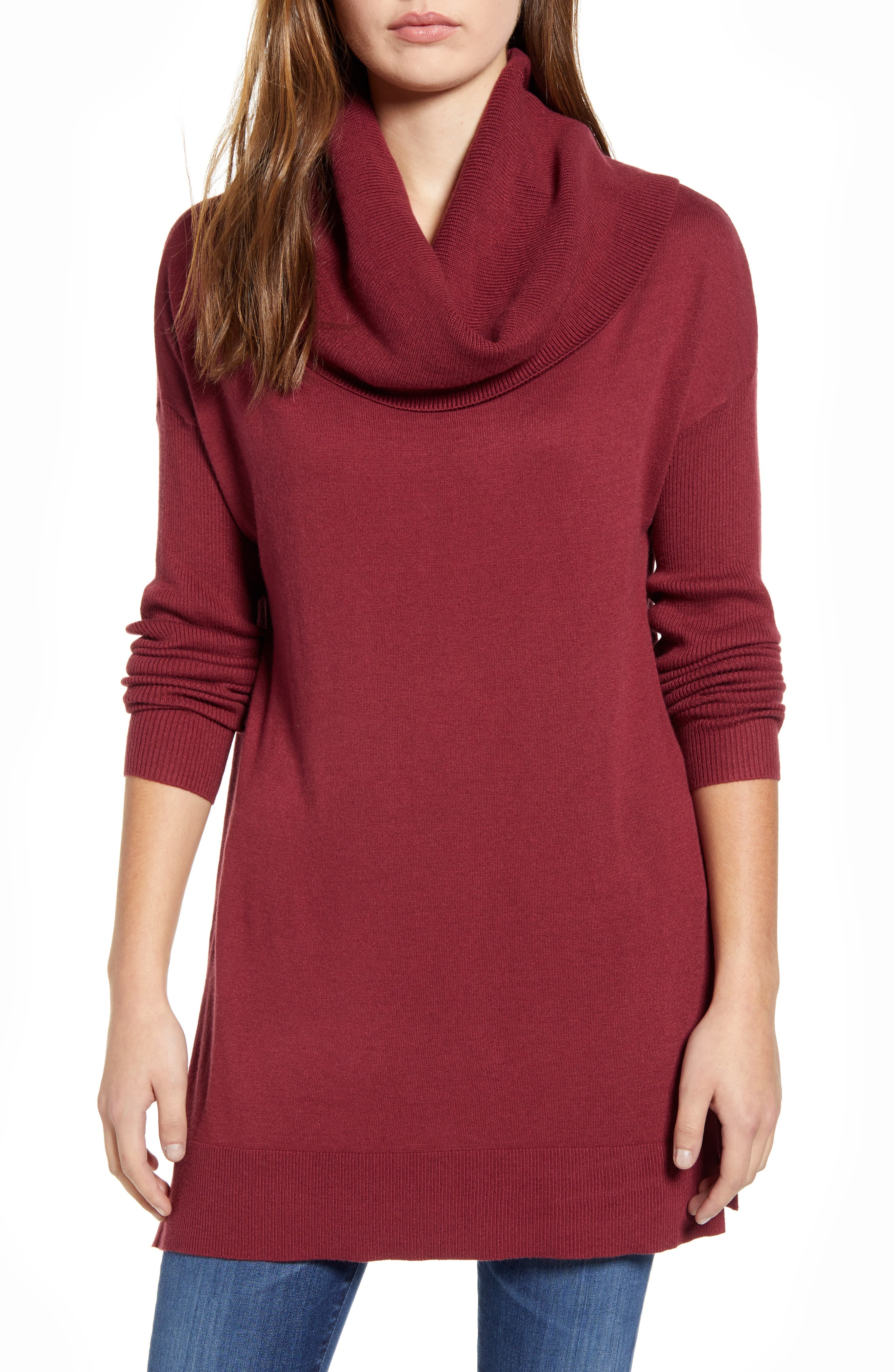 Caslon® Side Slit Convertible Cowl Neck Tunic (Regular & Petite)