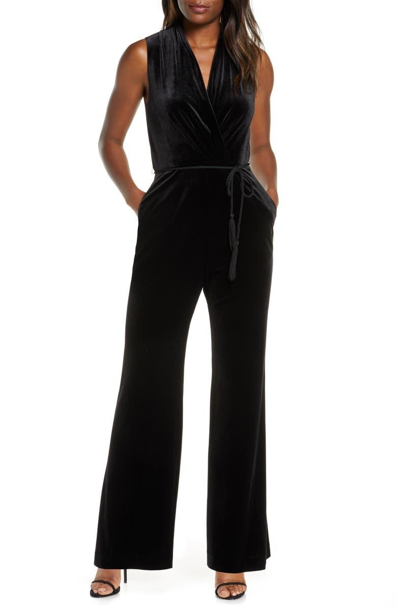 VINCE CAMUTO Velvet Jumpsuit, Main, color, BLACK