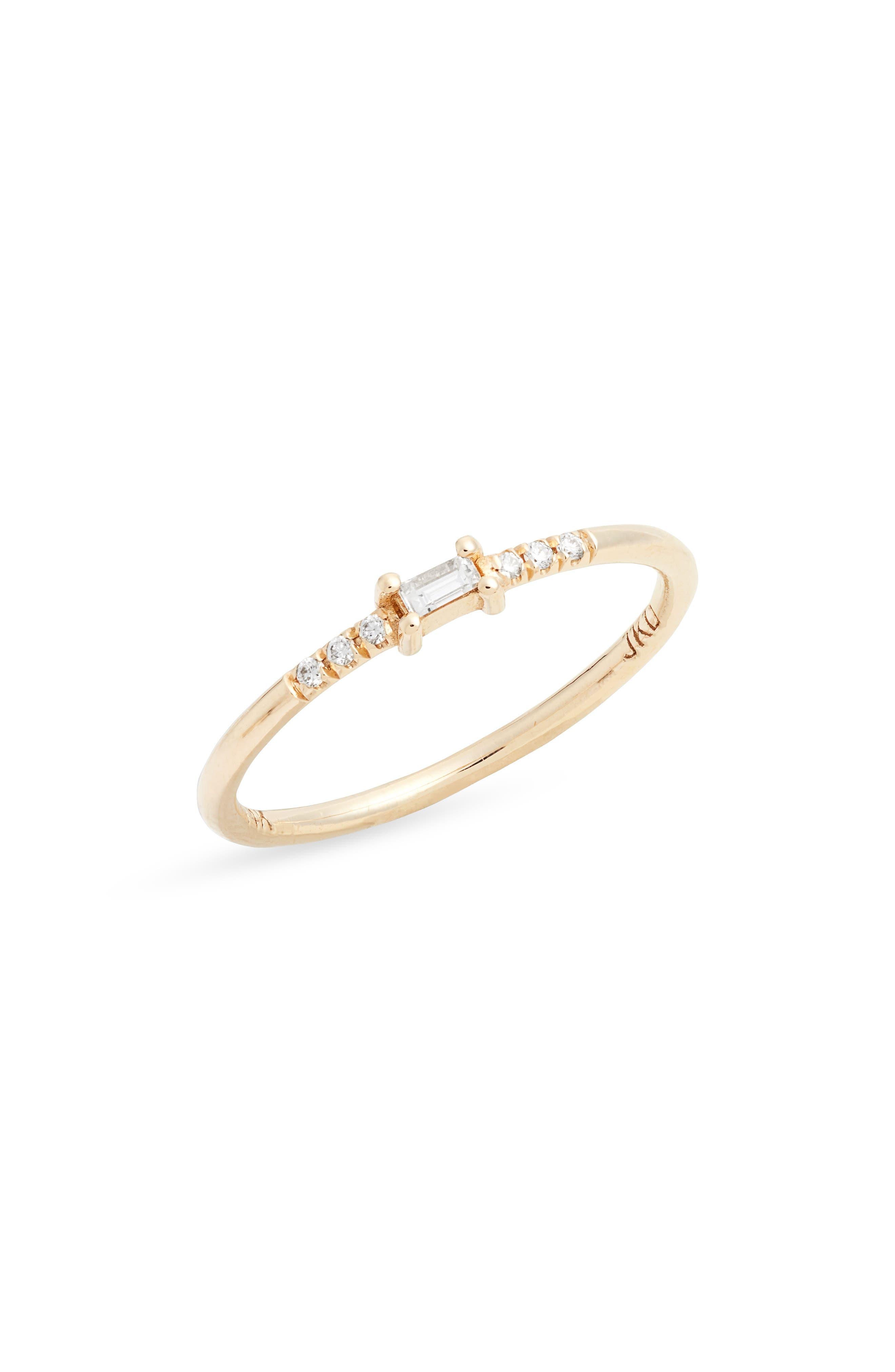 Petite Baguette Equilibrium Diamond Ring
