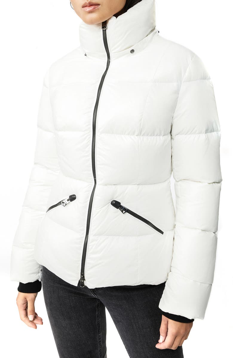 MACKAGE Lustrous Water Repellent Hooded Down Coat, Main, color, OFF WHITE