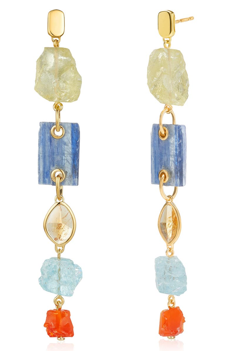 MONICA VINADER x Caroline Issa Gemstone Cocktail Earrings, Main, color, YELLOW GOLD