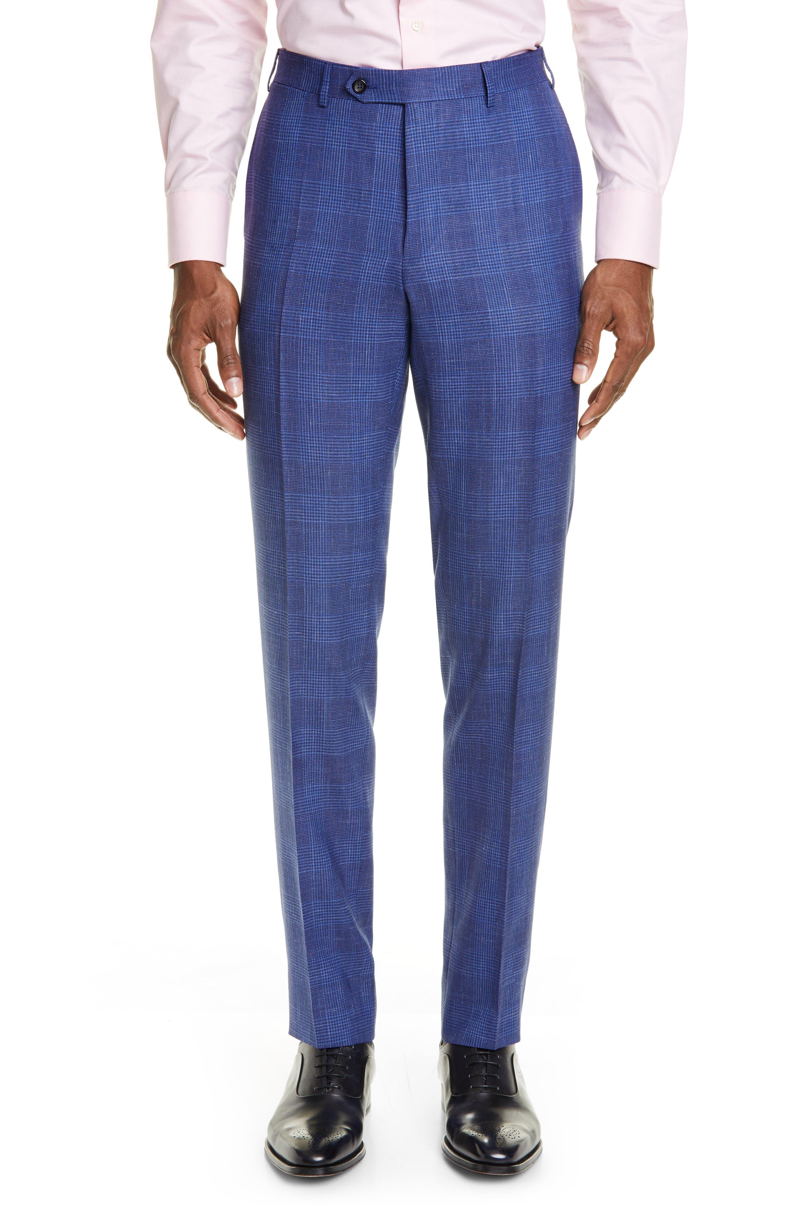 ,                             Kei Trim Fit Plaid Wool Blend Suit,                             Alternate thumbnail 6, color,                             BRIGHT BLUE
