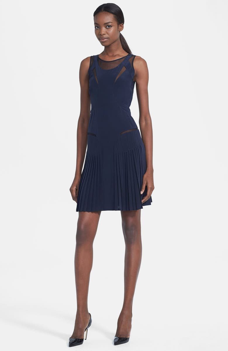 VICTORIA, VICTORIA BECKHAM Illusion Racerback Silk Dress, Main, color, 410