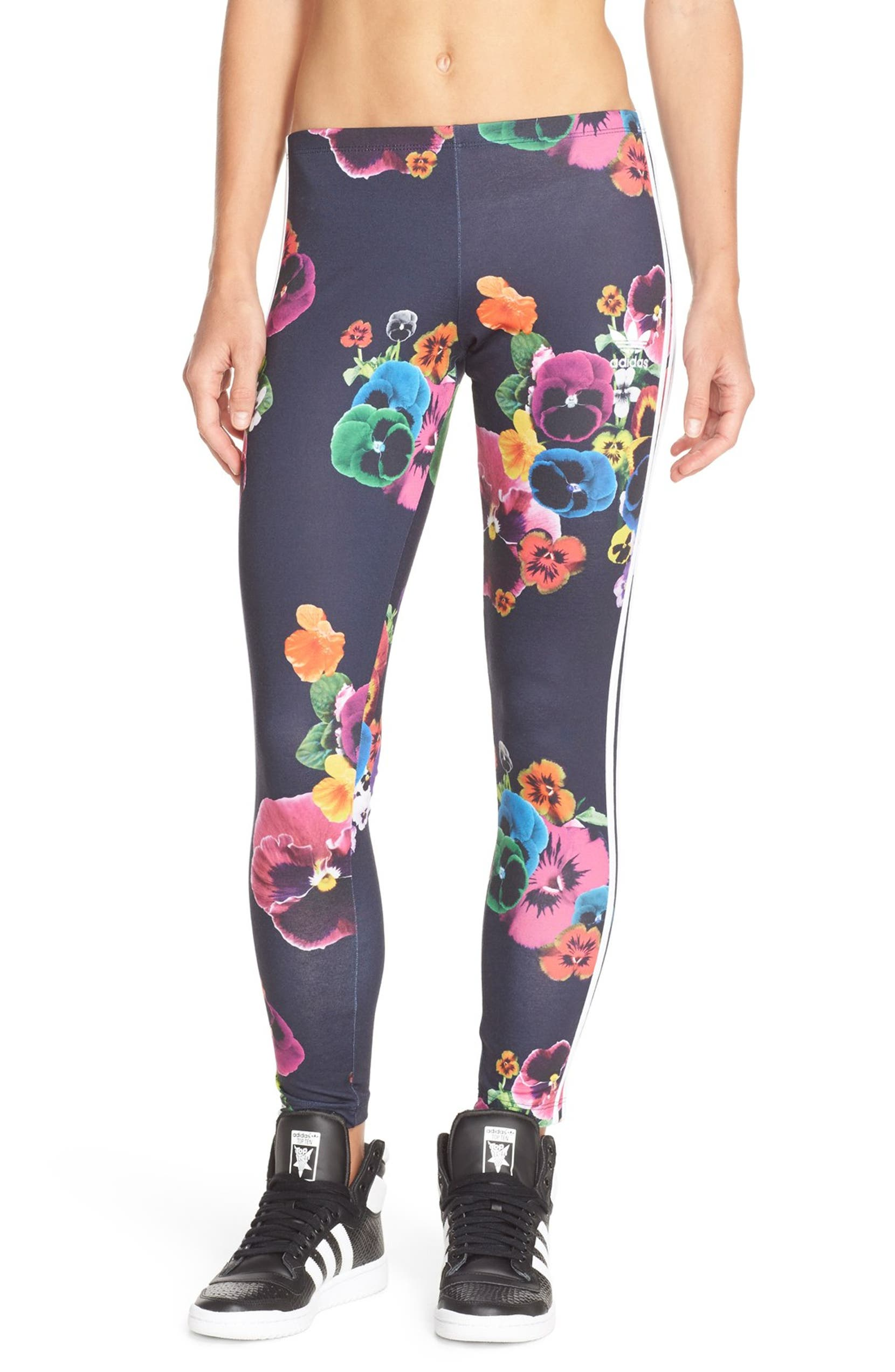 d302e53f99c3c adidas Originals 'AOP' Floral 3-Stripes Leggings | Nordstrom