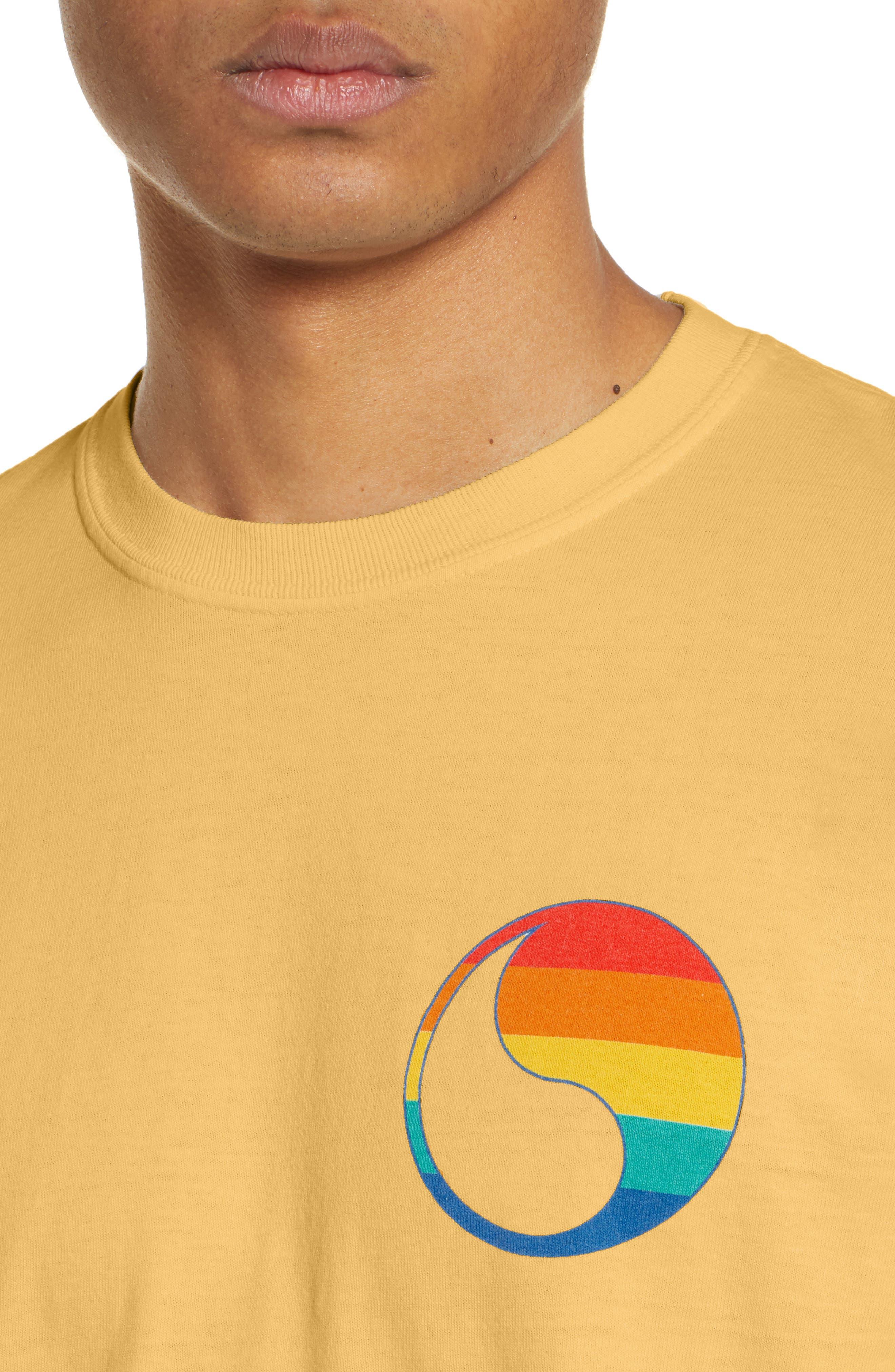 ,                             Free & Easy Rainbow Yin Yang Long Sleeve T-Shirt,                             Alternate thumbnail 4, color,                             YELLOW
