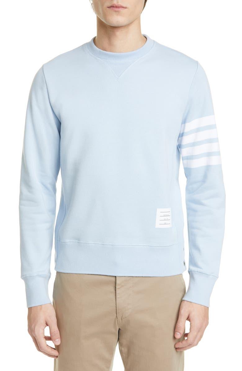 THOM BROWNE Stripe Sleeve Sweatshirt, Main, color, LIGHT BLUE
