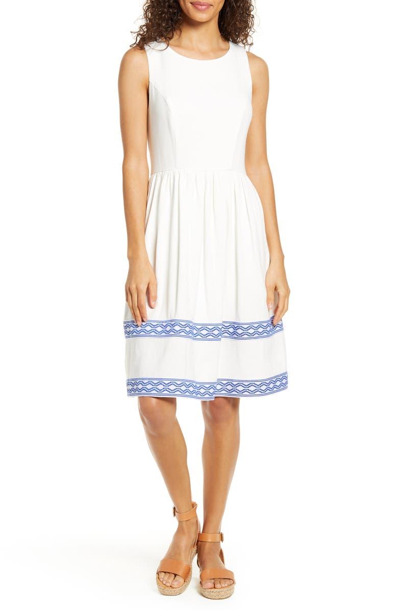 GIBSON x Hi Sugarplum! Ravello Geo Trim Sleeveless Fit & Flare Dress, Main, color, WHITE