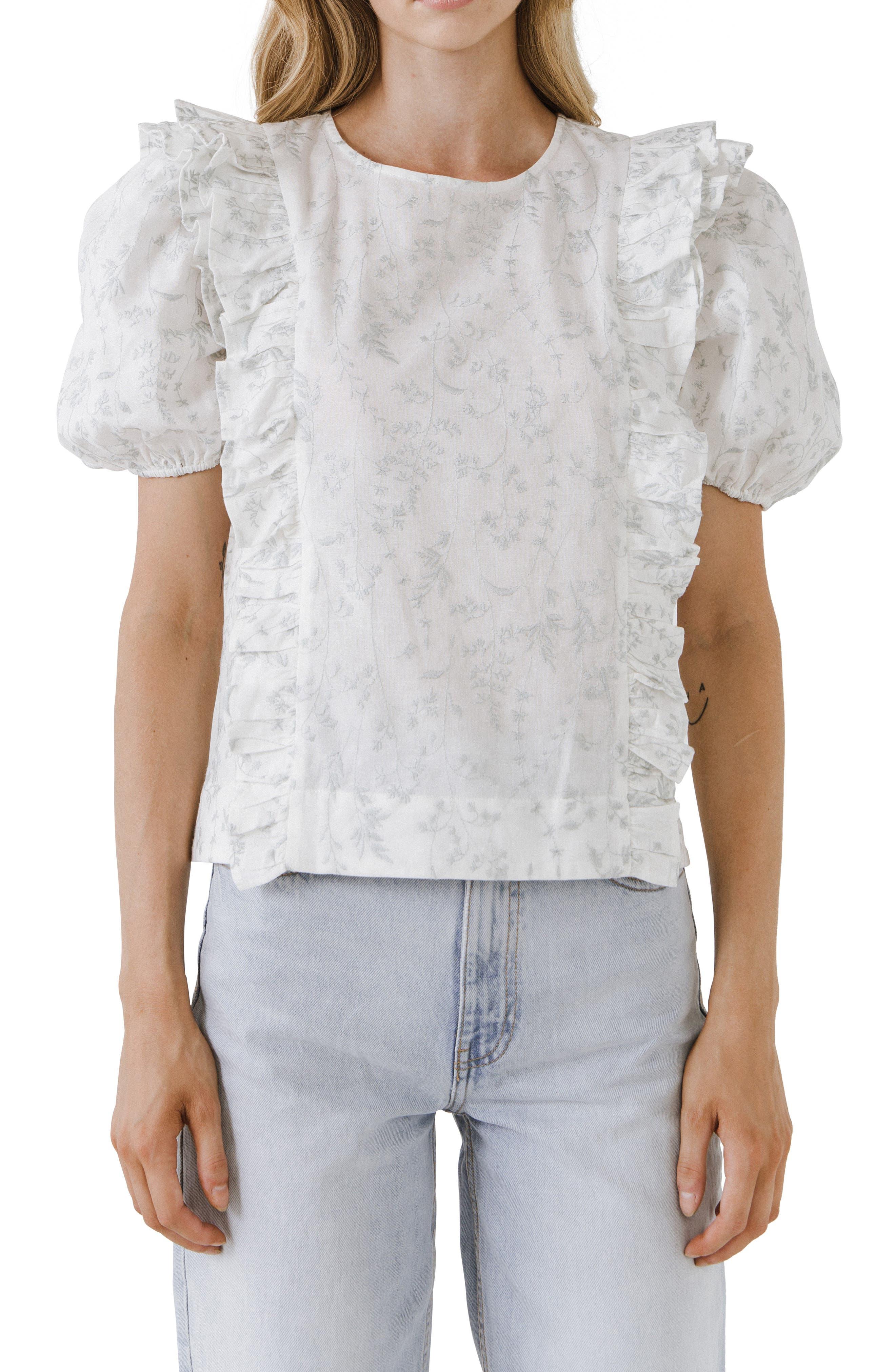 Floral Ruffle Linen & Cotton Top