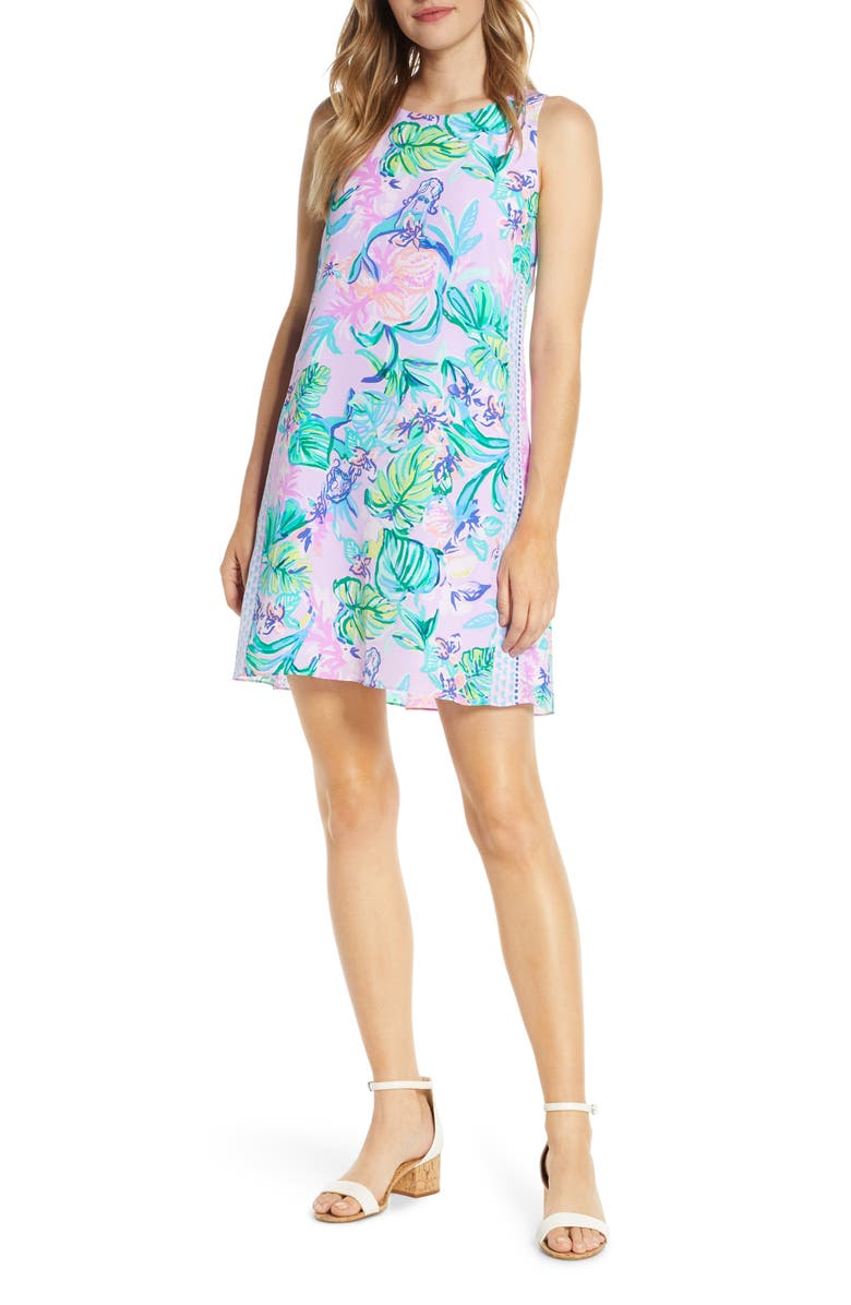 LILLY PULITZER<SUP>®</SUP> Jackie Silk Shift Dress, Main, color, AMETHYST TINT MERMAID