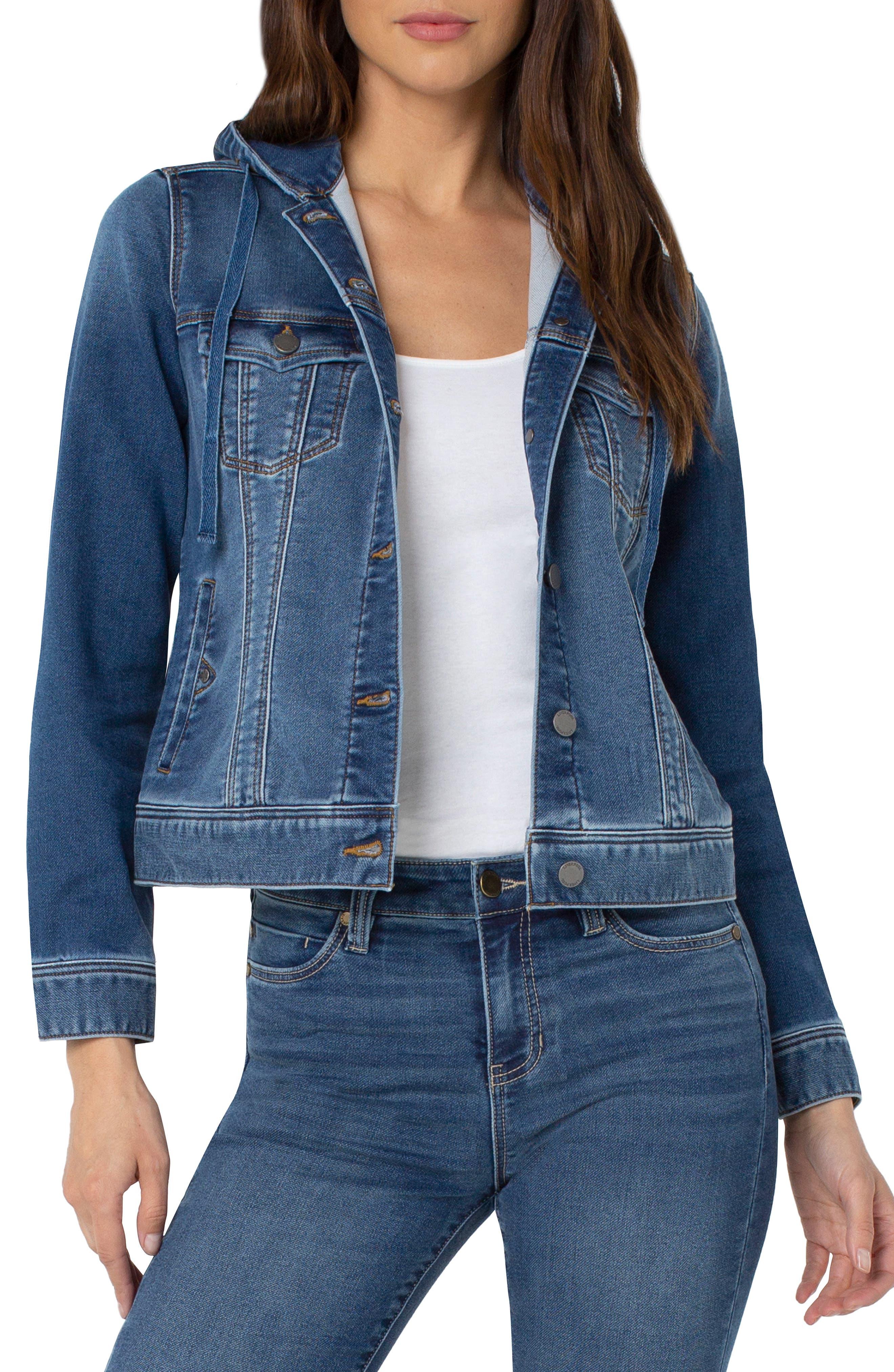 Hooded Cotton Blend Denim Trucker Jacket