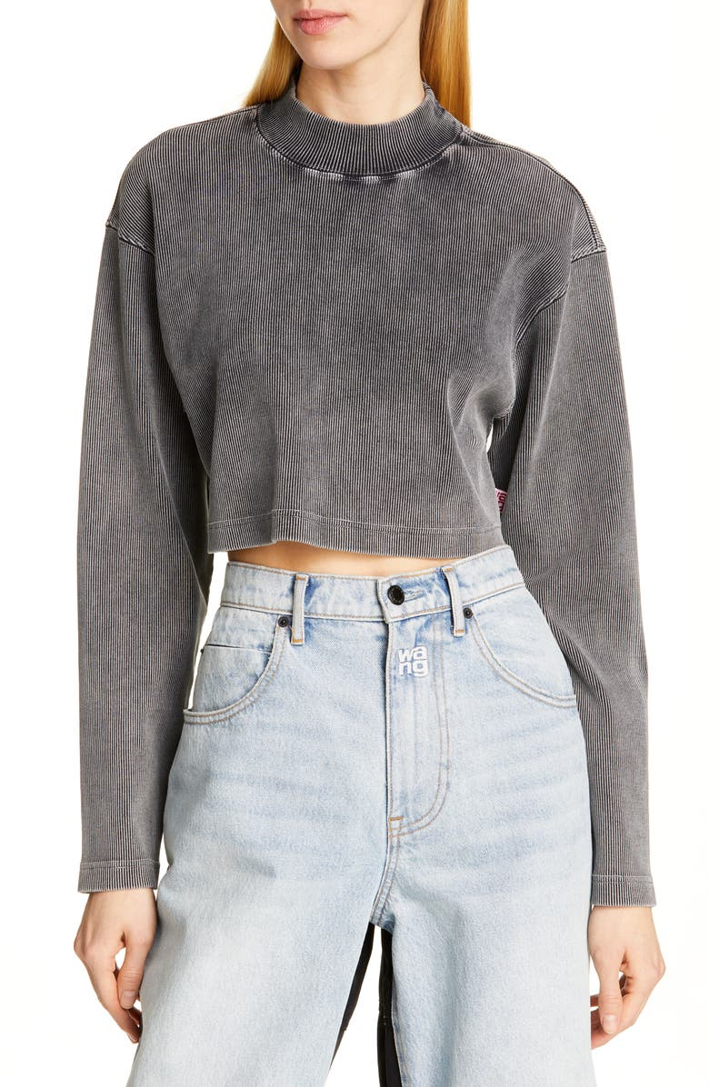 ALEXANDERWANG.T Acid Wash Ribbed Crop Top, Main, color, BLACK