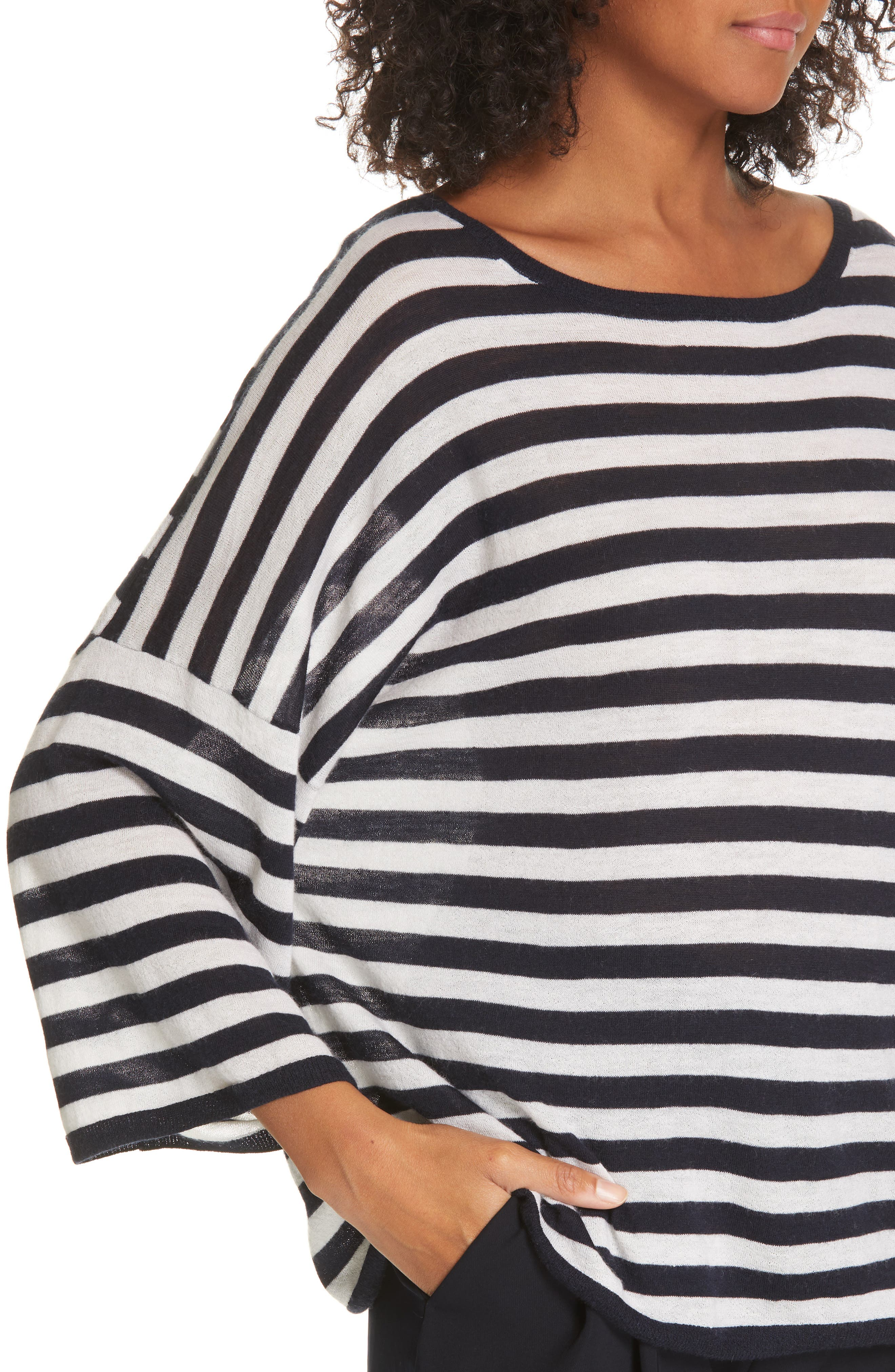 ,                             Stripe Boxy Wool & Cashmere Sweater,                             Alternate thumbnail 4, color,                             COASTAL/ CREAM