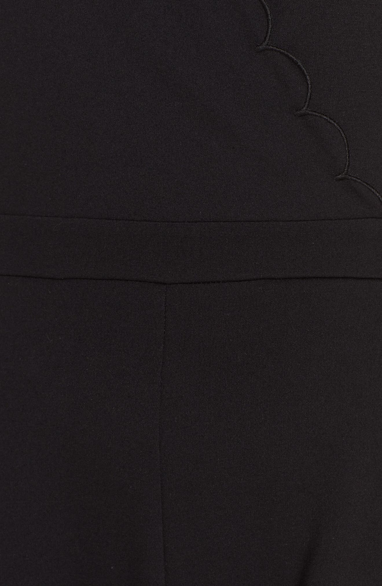 ,                             Lula Scallop Knit Romper,                             Alternate thumbnail 6, color,                             BLACK