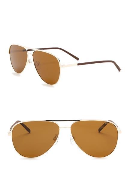 Image of Cole Haan 60mm Polarized Aviator Sunglasses