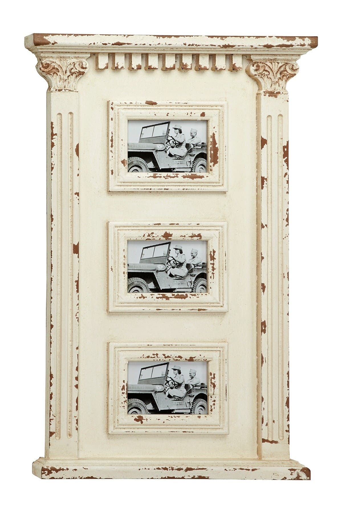 """Image of Willow Row Antique White Wood Wall Photo Collage Wall D  cor with 3 Picture Frames - 16.5""""x 27.5"""
