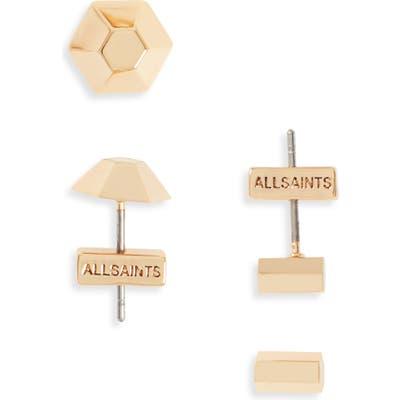 Allsaints 2-Pack Dome & Hexagon Stud Earrings