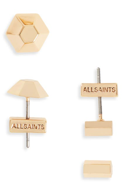 Image of ALLSAINTS Dome & Hex Stud Earrings Set