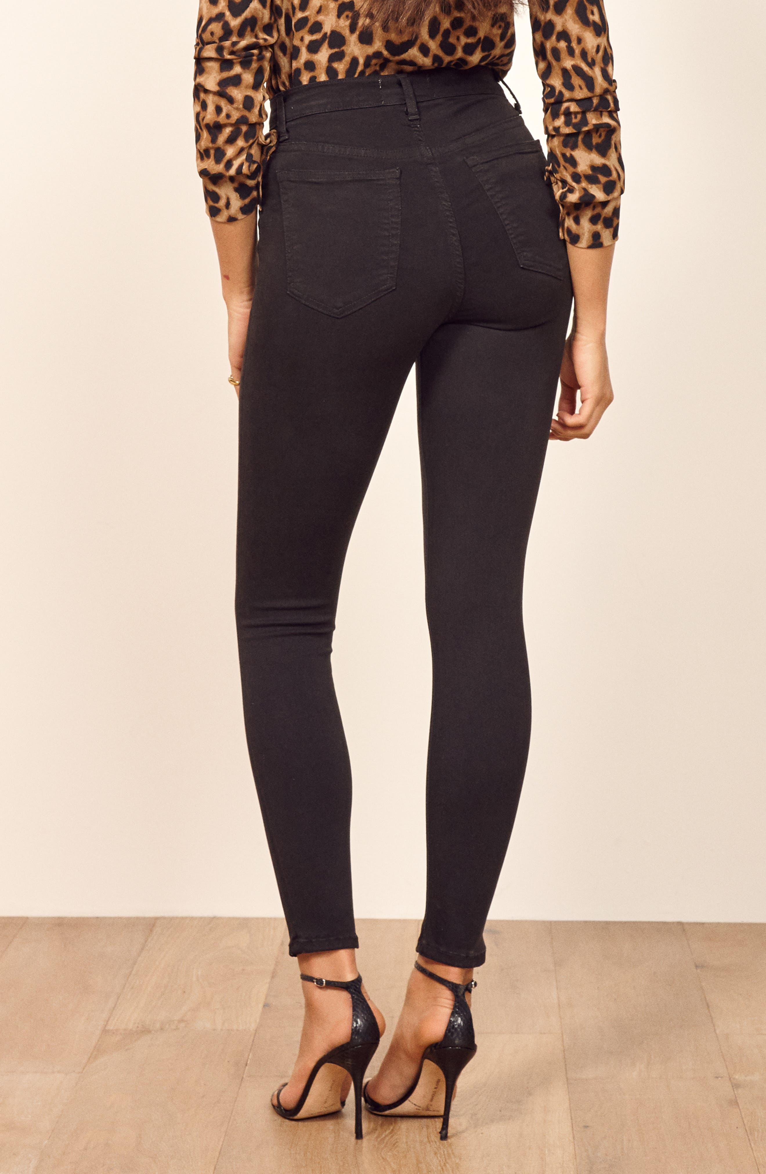 ,                             High & Skinny Crop Jeans,                             Alternate thumbnail 4, color,                             FADED BLACK