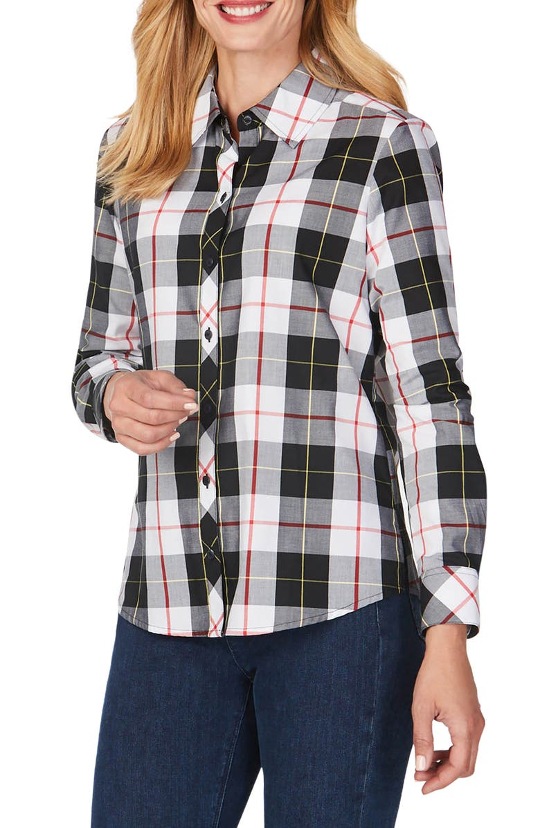 FOXCROFT Diane Sinclair Tartan Wrinkle-Free Shirt, Main, color, WINTER WHITE