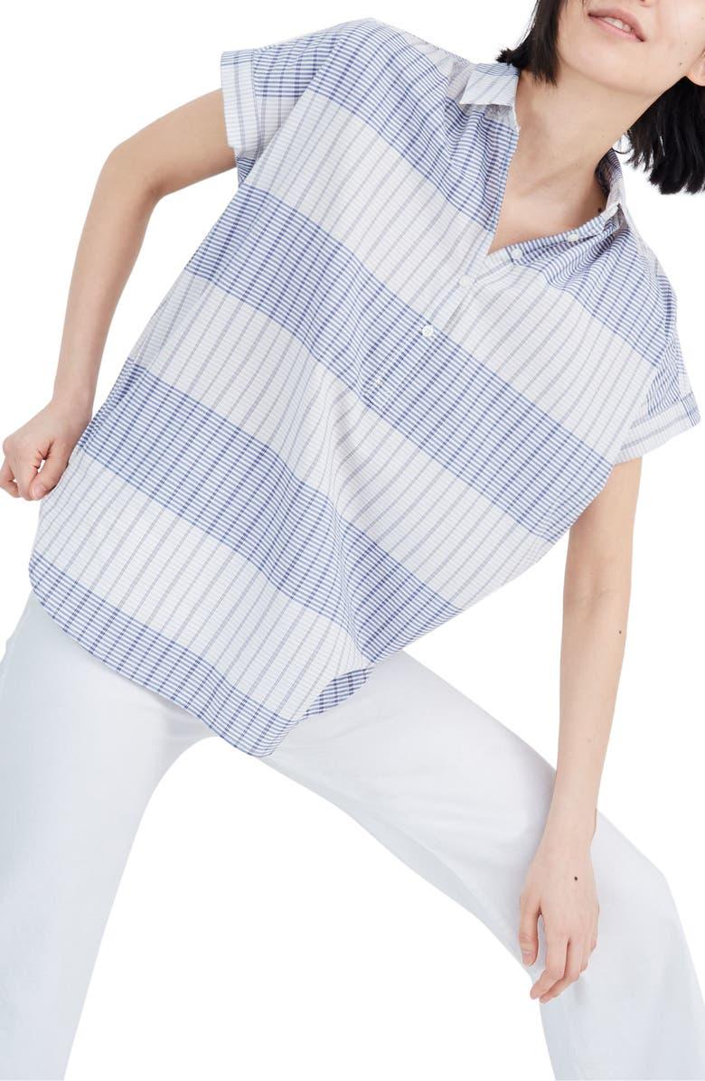 MADEWELL Delray Plaid Central Popover Shirt, Main, color, GENNA PLAID CRAFT BLUE