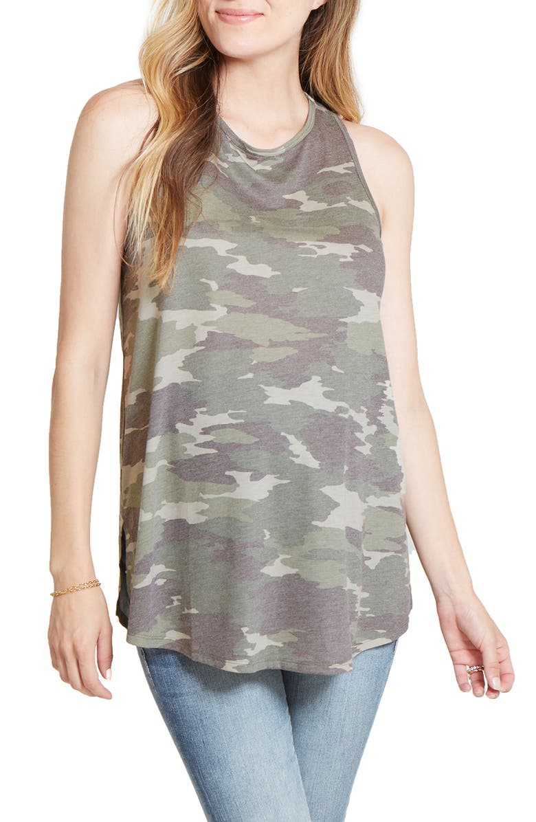 INGRID & ISABEL<SUP>®</SUP> Active Cross Back Maternity Top, Main, color, GREEN CAMO PRINT