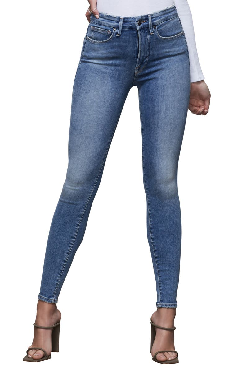 GOOD AMERICAN Good Waist High Waist Ankle Skinny Jeans, Main, color, BLUE390