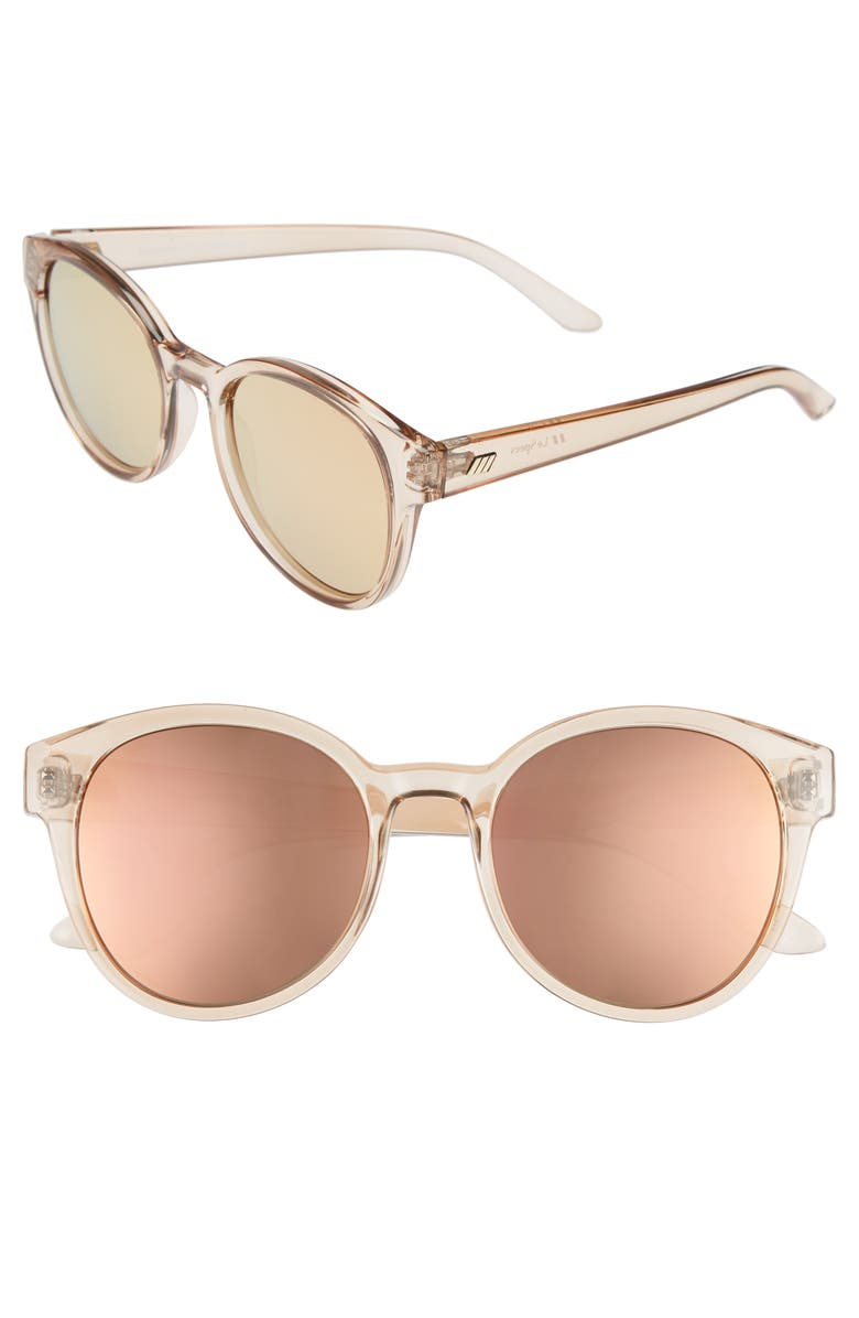 LE SPECS Paramount 52mm Round Sunglasses, Main, color, TAN