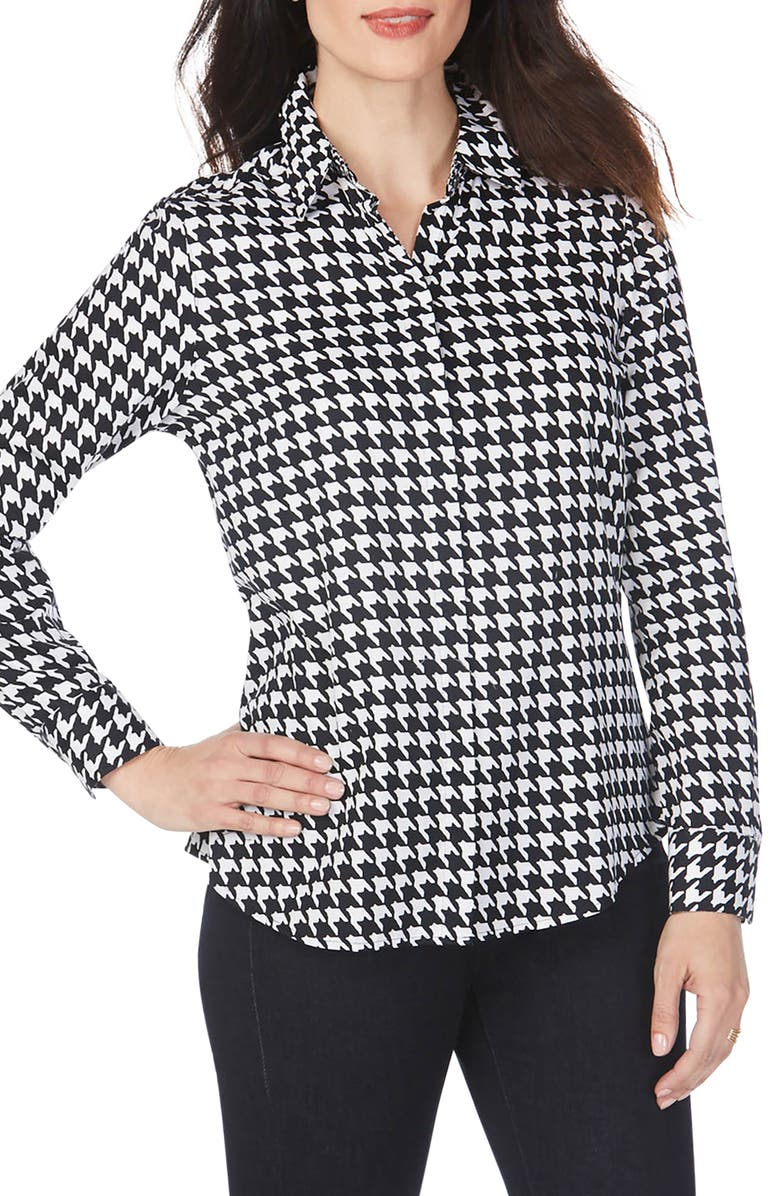 FOXCROFT Ava Houndstooth Wrinkle-Free Shirt, Main, color, BLACK