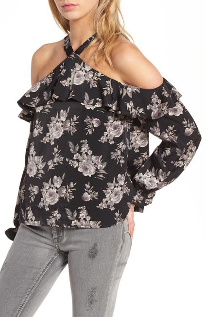 Image of J.O.A. Ruffle Floral Print Cold Shoulder Top