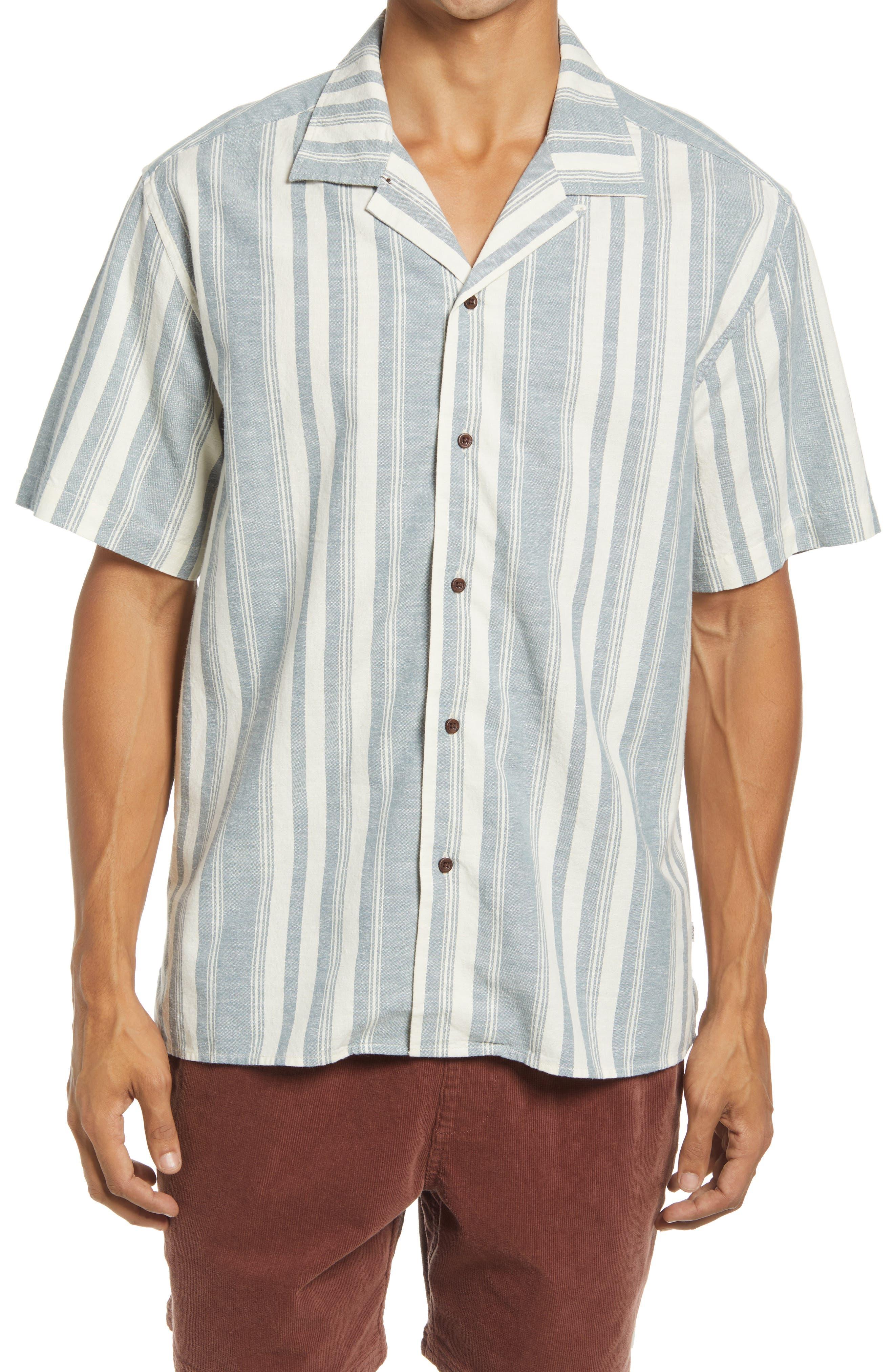 Stripe Short Sleeve Cotton & Linen Button-Up Shirt
