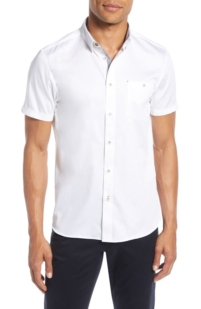 TED BAKER LONDON Slim Fit Short Sleeve Button-Down Sateen Shirt, Main, color, WHITE