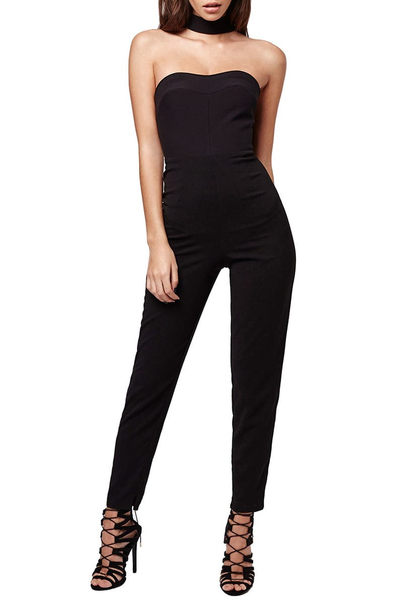 TOPSHOP KENDALL + KYLIE at Topshop High Neck Jumpsuit, Main, color, 001