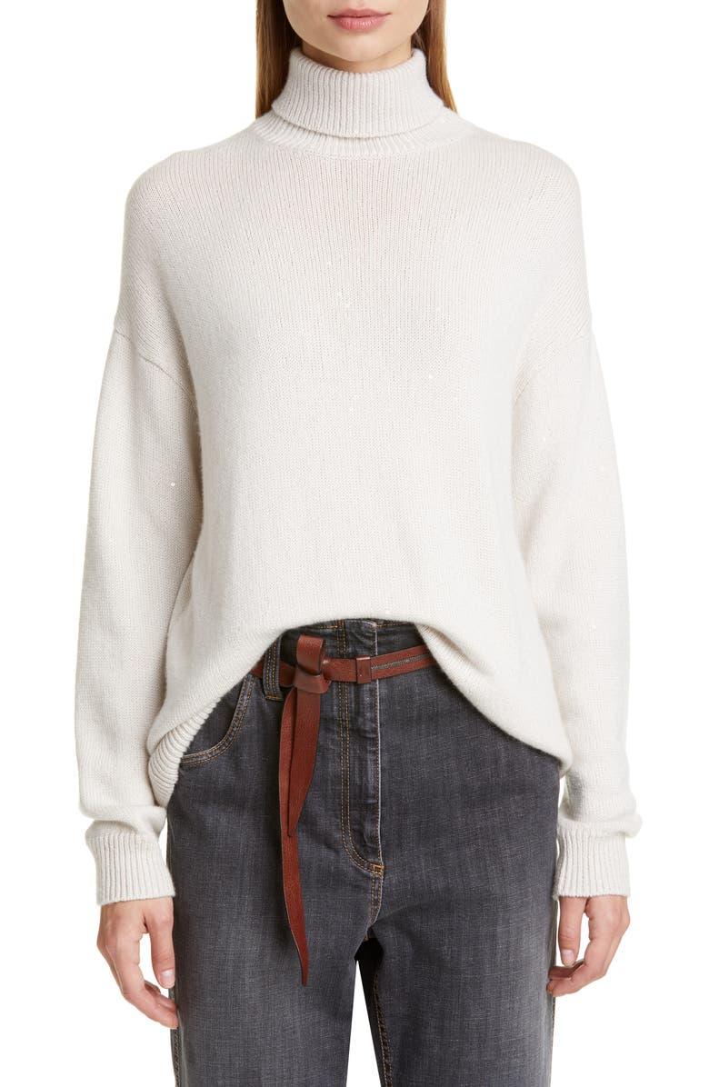 BRUNELLO CUCINELLI Sequin Cashmere & Silk Turtleneck Sweater, Main, color, VANILLA
