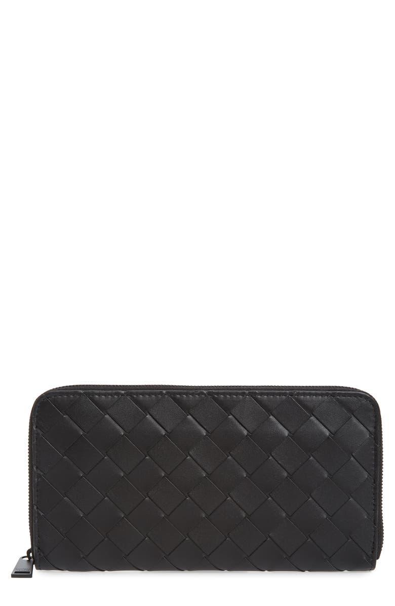BOTTEGA VENETA Intrecciato Zip Around Leather Wallet, Main, color, BLACK
