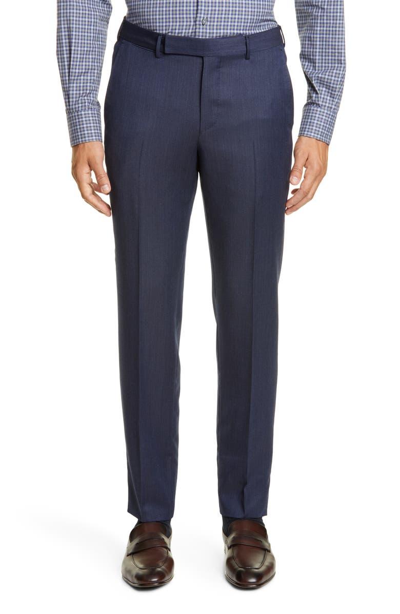 ERMENEGILDO ZEGNA Achilfarm Flat Front Solid Wool Blend Dress Pants, Main, color, BLUE