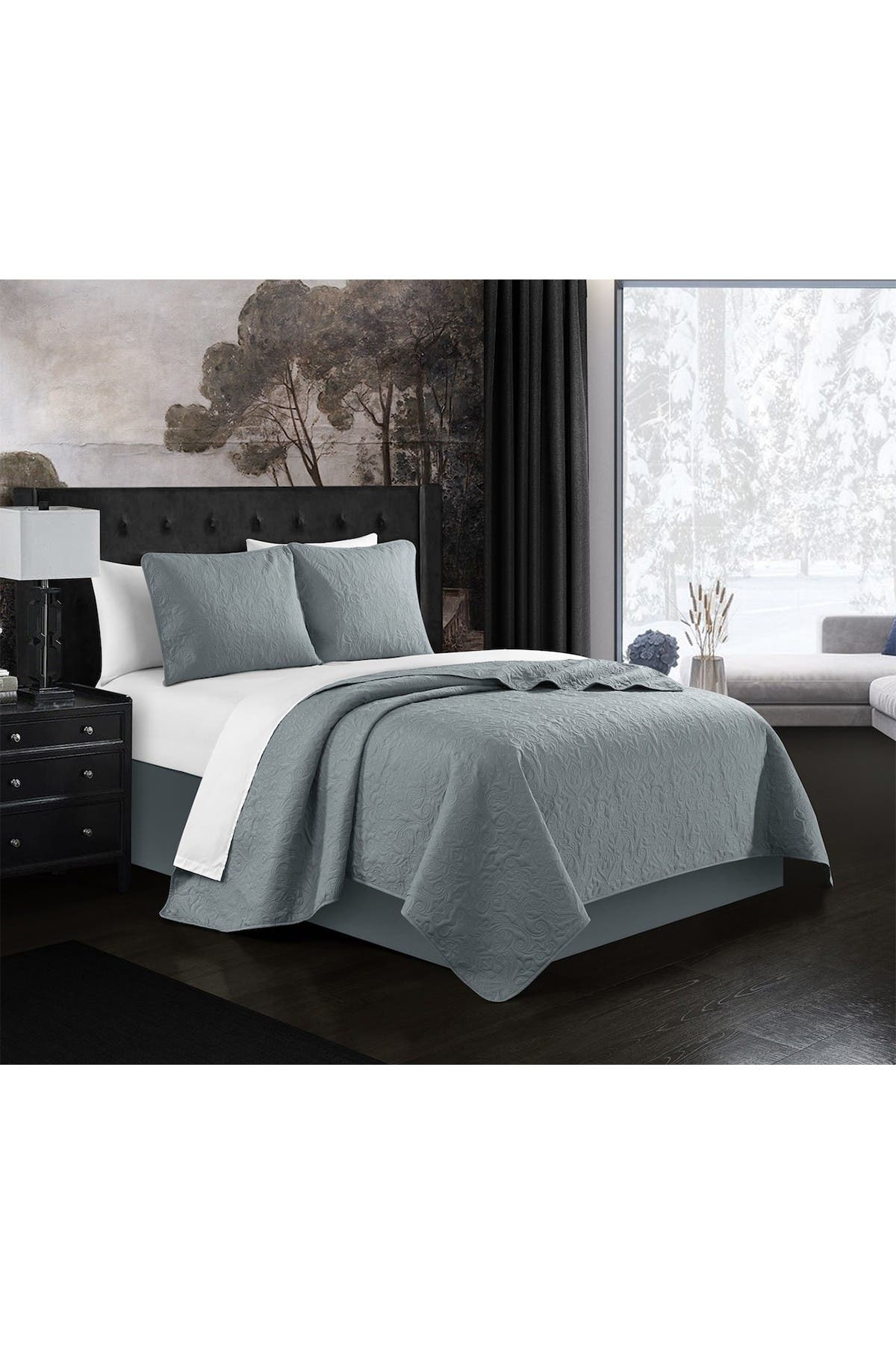 Image of Chic Home Bedding Milli Floral Scroll Pattern Twin Quilt Set - Grey - 2-Piece Set