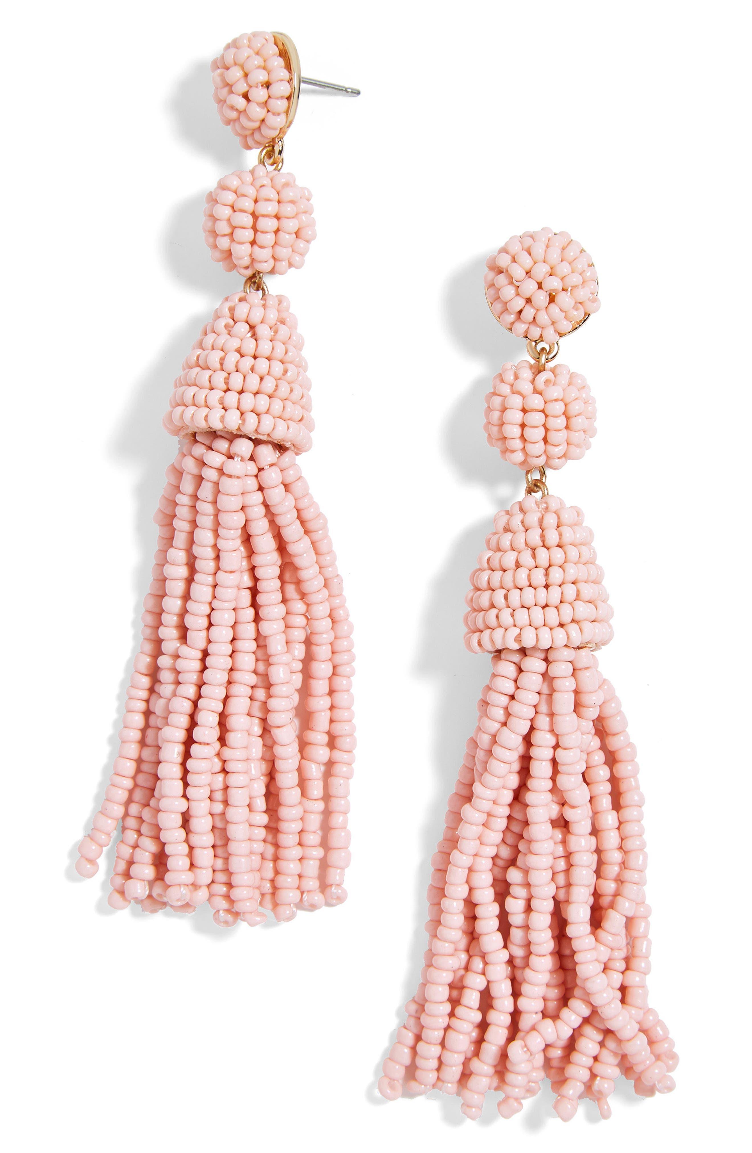 ,                             Granita Beaded Tassel Earrings,                             Main thumbnail 1, color,                             BLUSH